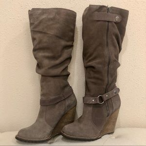 Bakers Knee High Taupe Suede Wedge Boots 8M